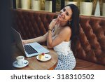 smiling happy latin woman... | Shutterstock . vector #318310502