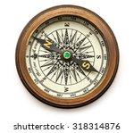 vintage brass compass on... | Shutterstock . vector #318314876