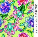 Seamless Folk Flowers Pattern....