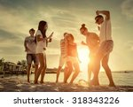 friends funny dance on the... | Shutterstock . vector #318343226