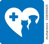 Stock vector blue veterinary icon with pet heart and cross 318350435