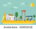 happy family riding bicycles in ...   Shutterstock .eps vector #318352418