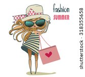 cute cartoon summer girl | Shutterstock .eps vector #318355658
