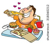 fat man eating a tray full of... | Shutterstock .eps vector #318360212