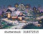 Night Scene Of Wooden Houses...