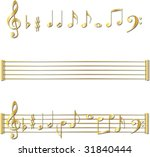 gold music notes | Shutterstock .eps vector #31840444