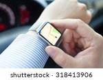 man hand in the car with watch... | Shutterstock . vector #318413906