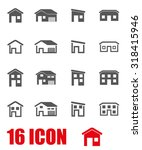 Vector Grey House Icon Set.