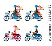 couple  man  woman  riding... | Shutterstock .eps vector #318423452