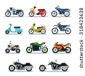 Motorcycle Types Objects Icons Set, Multicolor