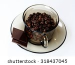 cup with coffee grain and...   Shutterstock . vector #318437045