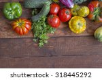 vegetables on a wooden table | Shutterstock . vector #318445292