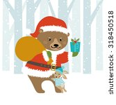 cute bear santa giving... | Shutterstock .eps vector #318450518