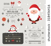 set of christmas ornaments and... | Shutterstock .eps vector #318456416