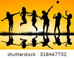 silhouettes of children playing ... | Shutterstock .eps vector #318467732