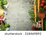 wooden spoon and ingredients on ... | Shutterstock . vector #318469892