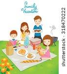 family picnic in public park ... | Shutterstock .eps vector #318470222