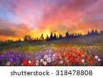 Oil Painting Poppy  Dandelion ...