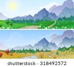 hilly mountains landscape in... | Shutterstock .eps vector #318492572