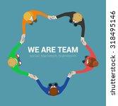 Friendly Team Circle Hands...