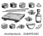 vector hand drawn sushi set.... | Shutterstock .eps vector #318495182