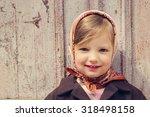 Vintage Style. Little Cute Gir...
