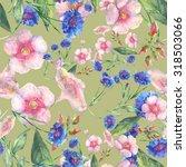beautiful floral seamless... | Shutterstock . vector #318503066