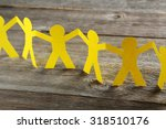 paper people on the grey wooden ... | Shutterstock . vector #318510176