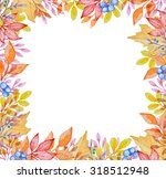 watercolor frame with red and... | Shutterstock . vector #318512948