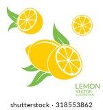 lemon. yellow fruit with leaves ... | Shutterstock .eps vector #318553862