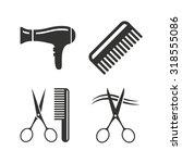 hairdresser icons. scissors cut ... | Shutterstock .eps vector #318555086