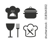 chief hat and cooking pan icons.... | Shutterstock .eps vector #318564302