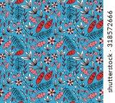 forest pattern. leaves  pine... | Shutterstock .eps vector #318572666