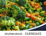 cooked vegetables mix. peas and ... | Shutterstock . vector #318582632