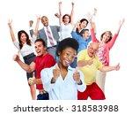 happy joyful people group...   Shutterstock . vector #318583988