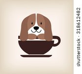 Dog Face With Coffee Cup Logo...