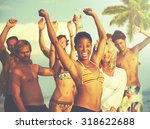 people celebration beach party... | Shutterstock . vector #318622688