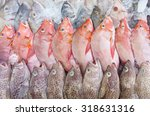 Fresh Fishes In Market With Re...