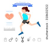 woman running and exercise... | Shutterstock .eps vector #318632522