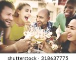 friends drinking lunch outdoors ... | Shutterstock . vector #318637775