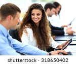 businessman and businesswoman... | Shutterstock . vector #318650402