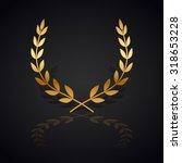 gold laurel wreath with  shadow ... | Shutterstock .eps vector #318653228
