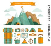 mountain trekking  hiking ... | Shutterstock .eps vector #318680825