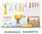 colorful poster with carpenter... | Shutterstock .eps vector #318690578