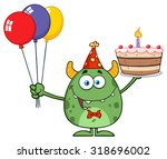 cute green monster holding up a ... | Shutterstock . vector #318696002