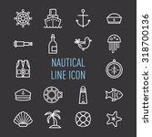 set of nautical line icon...