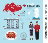 singapore flat icons design... | Shutterstock .eps vector #318704648