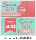 gift voucher certificate coupon ... | Shutterstock .eps vector #318709886