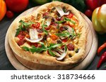 heart shaped pizza and fresh...   Shutterstock . vector #318734666