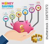 money saving planning... | Shutterstock .eps vector #318737372